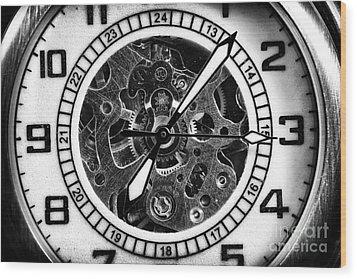 Watch Hands Wood Print by John Rizzuto