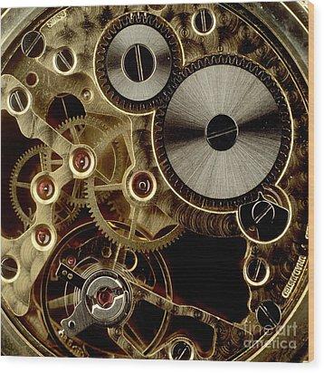 Watch Mechanism. Close-up Wood Print by Bernard Jaubert