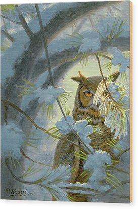 Watchful Eye-owl Wood Print by Paul Krapf