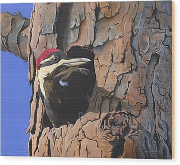 Watchful Woodpecker Wood Print by Kirsten Wahlquist
