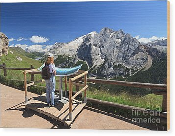 watching Marmolada mount Wood Print