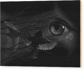 Wood Print featuring the drawing Watching Over Sparrows by Sandra LaFaut