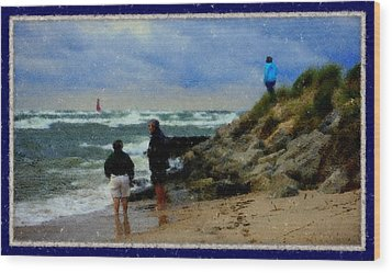 Watching The Storm Come In Wood Print by Rosemarie E Seppala