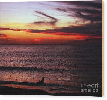 Watching The Sunset Wood Print by Doris Wood