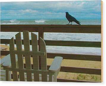 Watching The Waves Wood Print by Julie Dant