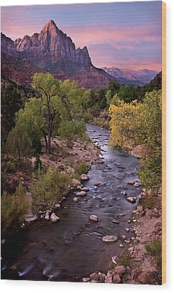 Watchman  Tower Zion Sunrise Wood Print