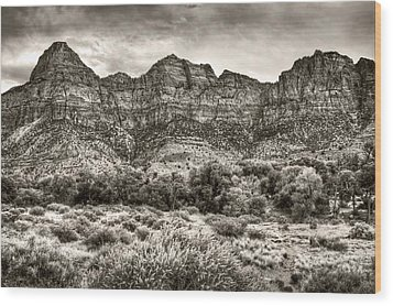 Wood Print featuring the photograph Watchman Trail In Sepia - Zion by Tammy Wetzel