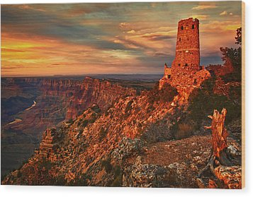 Wood Print featuring the photograph Watchtower Sunset by Priscilla Burgers