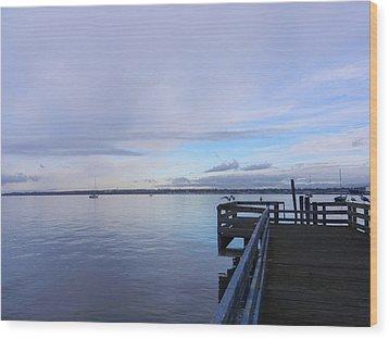 Wood Print featuring the photograph Water And Sky Of Bellingham Bay by Karen Molenaar Terrell