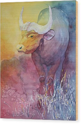Wood Print featuring the painting Water Buffalo by Nancy Jolley