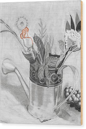 Water Can Bouquet Wood Print by Susan Schmitz