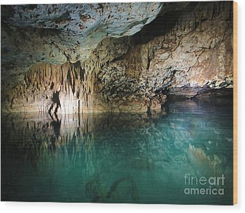 Water Cave Wood Print