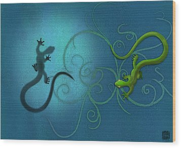 water colour print of twin geckos and swirls Duality Wood Print