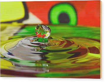 Wood Print featuring the photograph Water Drop by Peter Lakomy