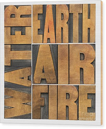 Water Earth Air And Fire Wood Print