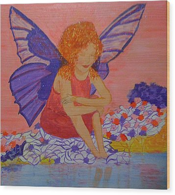Wood Print featuring the painting Water Fairy by Judi Goodwin