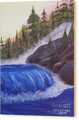 Wood Print featuring the painting Water Fall By Rocks by Brenda Brown