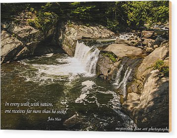 Water Fall With John Muir Quote Wood Print