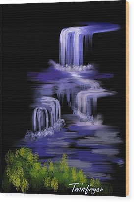 Water Falls Wood Print by Twinfinger