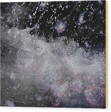 Water Flowing Into Space Wood Print