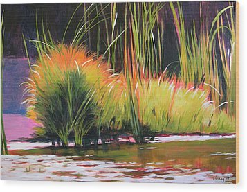 Water Garden Landscape 3 Wood Print by Melody Cleary