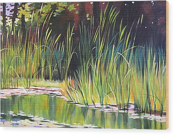 Water Garden Landscape II Wood Print by Melody Cleary