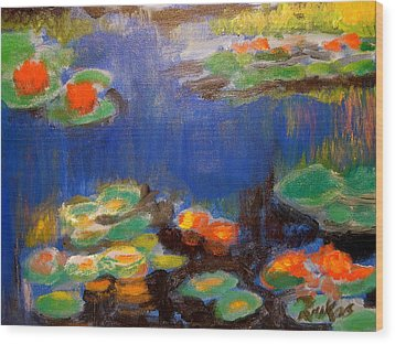 Wood Print featuring the mixed media Water Lilies  After Monet by Diana Riukas