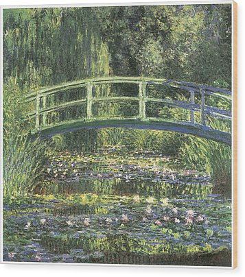 Water Lilies And Japanese Bridge Wood Print by Claude Monet