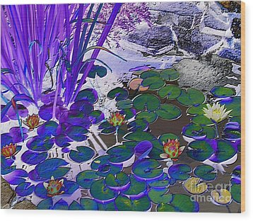 Water Lilies Blue Wood Print by Margaret Newcomb