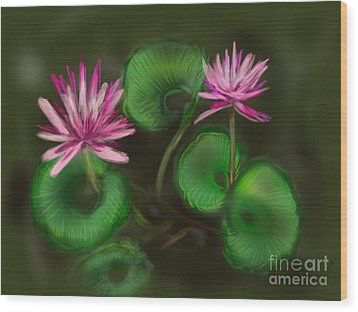 Wood Print featuring the digital art Water Lilies by Christine Fournier