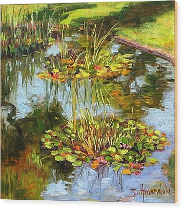 Water Lilies In California Wood Print by Dominique Amendola
