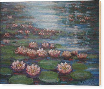 Wood Print featuring the painting Water Lilies In Monet Garden by Laila Awad Jamaleldin
