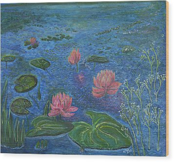 Water Lilies Lounge 2 Wood Print by Felicia Tica