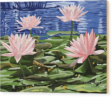 Water Lilies Wood Print by Tim Gilliland