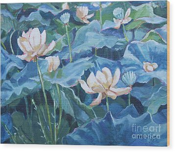 Water Lilies Two Wood Print by Jan Bennicoff