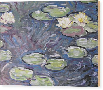 Wood Print featuring the painting Water Lilies by Vikram Singh