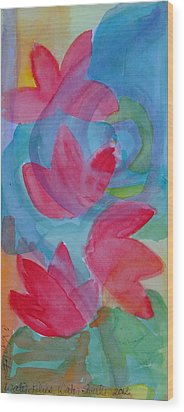 Water Lilies Water Swirls Version II Wood Print by Claudia Smaletz