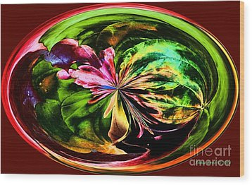 Water Lily Abstract Art Wood Print by Annie Zeno