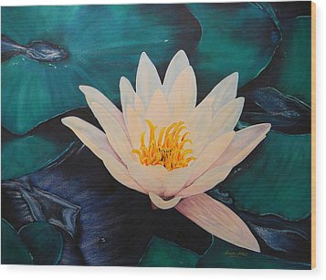 Water Lily Wood Print by Adel Nemeth
