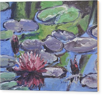 Water Lily Wood Print by Donna Tuten