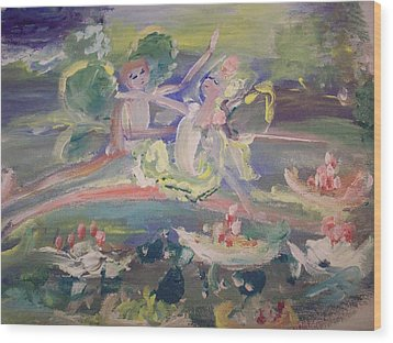 Water Lily Fairies Wood Print by Judith Desrosiers