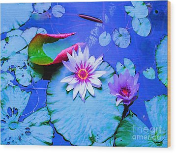 Water Lily I Wood Print by Ann Johndro-Collins
