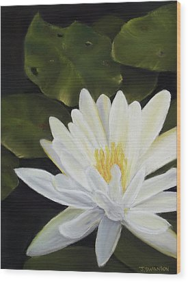 Water Lily Wood Print by Joan Swanson