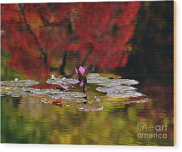 Wood Print featuring the photograph Water Lily Reflection by Lisa L Silva