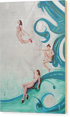 Water Nymphs Wood Print by Lorinda Fore and Tony Lima