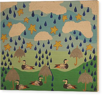 Wood Print featuring the painting Water Off A Duck's Umbrella by Erika Chamberlin