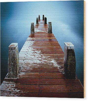 Water On The Jetty Wood Print by Dave Bowman