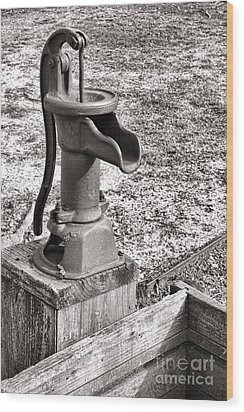 Water Pump And Trough Wood Print by Olivier Le Queinec