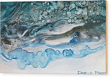Water Ripples And Silver Linings Alcohol Inks Wood Print