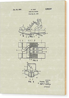 Water Scooter 1961 Patent Art Wood Print by Prior Art Design